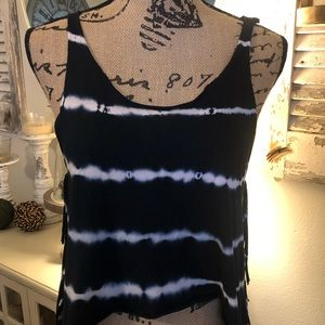 Navy and white Tye dyed tank size small